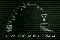 Da carta ai dati: documenti di esame per un ufficio senza carta po Fotografia Stock