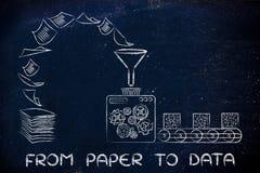 Da carta ai dati: la fabbrica lavora i documenti a macchina di tornitura nel orga Immagine Stock