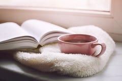 Da casa vida acolhedor ainda: copo do café quente e do livro aberto com a manta morna na soleira contra a neve Espaço da cópia gr Foto de Stock Royalty Free