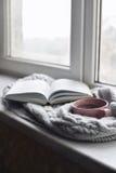 Da casa vida acolhedor ainda: copo do café quente e do livro aberto com a manta morna na soleira contra a paisagem da neve fora Fotos de Stock