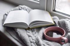 Da casa vida acolhedor ainda: copo do café quente e do livro aberto com a manta morna na soleira contra a paisagem da neve fora Imagens de Stock