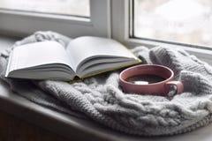 Da casa vida acolhedor ainda: copo do café quente e do livro aberto com a manta morna na soleira contra a paisagem da neve fora Fotos de Stock Royalty Free