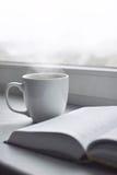 Da casa vida acolhedor ainda: copo do café quente e do livro aberto na soleira contra a paisagem da neve fora Feriados de inverno Foto de Stock Royalty Free