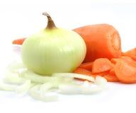 Da cenoura e da cebola dos vegetais vida ainda fotografia de stock