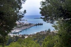 da cidade espanhola de Malaga Porto, golfo, navios Um olhar no porto através das coníferas imagens de stock