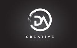 DA Circular Letter Logo with Circle Brush Design and Black Backg Royalty Free Stock Photo