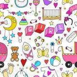 Da coleção relacionada dos ícones da etiqueta do bebê teste padrão sem emenda Projeto bonito dos símbolos Ilustração tirada crian Fotografia de Stock