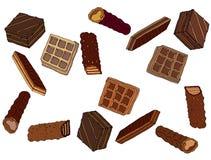 Da cor doce da arte da tra??o da m?o do alimento do caf? da garatuja dos desenhos animados waffle delicioso ilustração stock