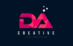 DA D A Letter Logo with Purple Low Poly Pink Triangles Concept Royalty Free Stock Image