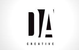 DA D A White Letter Logo Design with Black Square. Stock Images