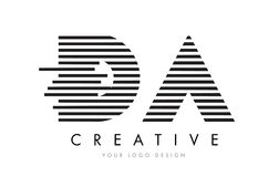 DA D A Zebra Letter Logo Design with Black and White Stripes Royalty Free Stock Photo