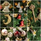Día de fiesta del collage de la decoración del árbol de navidad Imagen de archivo libre de regalías