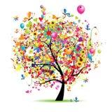 Día de fiesta feliz, árbol divertido con los baloons Fotografía de archivo
