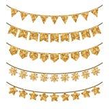 Día de fiesta Garland Decorations del oro en blanco Imagen de archivo libre de regalías