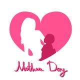 Día de la madre, mujer Sit Embracing Child, fondo de la silueta de la forma del corazón de la tarjeta de felicitación del amor de Fotos de archivo