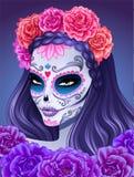 Día de mujer muerta del cráneo del azúcar Imagenes de archivo