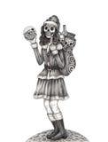 Día de Santarina del cráneo del arte del festival muerto Imagen de archivo libre de regalías