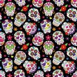 Día de Sugar Skull Seamless Vector Background muerto Fotos de archivo
