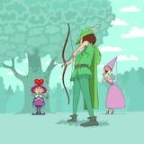 Día de tarjeta del día de San Valentín de Robin Hood Foto de archivo