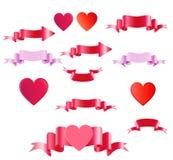 Día de tarjetas del día de San Valentín feliz Cintas y corazón coloreados satén Fotografía de archivo