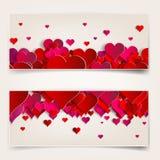 Día de tarjetas del día de San Valentín. Tarjetas abstractas con los corazones de papel Foto de archivo libre de regalías
