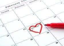 Día del calendario y de tarjeta del día de San Valentín Imágenes de archivo libres de regalías