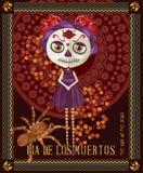 Día del cráneo muerto Mujer con maquillaje del calavera Fotografía de archivo