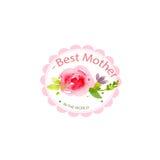 Día del ` s de la madre de la tarjeta de la acuarela Imagenes de archivo