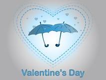 Día del `s de la tarjeta del día de San Valentín Una lluvia del corazón Imagenes de archivo