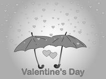 Día del `s de la tarjeta del día de San Valentín Una lluvia del corazón Imagen de archivo