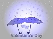 Día del `s de la tarjeta del día de San Valentín Una lluvia del corazón Fotografía de archivo libre de regalías