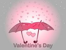 Día del `s de la tarjeta del día de San Valentín Una lluvia del corazón Fotos de archivo