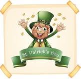 Día del ` s de St Patrick con el duende y el oro Imagenes de archivo