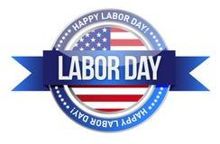Día del Trabajo. nosotros sello y bandera Foto de archivo