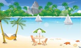 Día en la playa, ilustración Foto de archivo libre de regalías