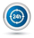 24 da entrega do ícone horas de botão redondo azul da prima Imagem de Stock Royalty Free