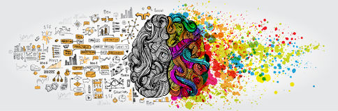 Da esquerda à direita conceito do cérebro humano A parte e a lógica criativas parte com social e garatuja do negócio ilustração royalty free