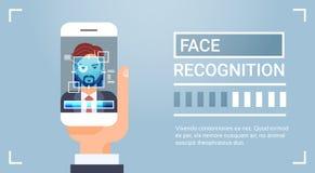 Da exploração esperta do telefone da posse da mão sistema de identificação biométrico masculino de Iris Face Recognition Technolo ilustração do vetor