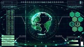 da exposição ascendente abstrata digital da cabeça da relação do fundo da Olá!-tecnologia terra holográfica e informação video estoque
