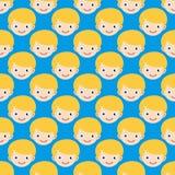 Da expressão sem emenda do teste padrão da cara do menino ilustração bonito do flatvector do personagem de banda desenhada do ado Fotos de Stock