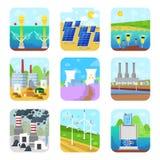 Da fábrica poderosa energética das estações da eletricidade do vetor do poder da energia fontes alternativas renováveis solares,  ilustração stock