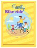 Da família da equitação das bicicletas cartaz colorido junto ilustração do vetor