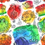 Da garatuja engraçada da vida marinha dos desenhos animados teste padrão sem emenda Imagens de Stock Royalty Free
