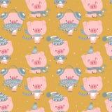 da garatuja pastel azul da tração da mão do vetor do teste padrão do fundo dos desenhos animados do porco do bebê ilustração cômi ilustração stock