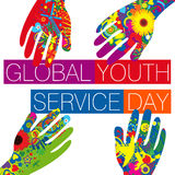 Día global del servicio de la juventud Imágenes de archivo libres de regalías