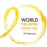 15 da ilustração do vetor do dia do câncer da infância do mundo de fevereiro Fita para as pacientes que sofre de câncer do dia do ilustração stock