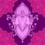 Da ilustração oriental da tatuagem do desenho da mandala de Ganesha teste padrão sem emenda Fotos de Stock