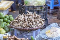 Da Lat market, Da Lat city, Lam province, Vietnam. Ginger in vegetables stall in Da Lat market, Da Lat city, Lam province, Vietnam. Da Lat is called the city of royalty free stock images