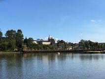 Da Lat  Viet Nam. Scenical lake and tree one afternoon Stock Photos