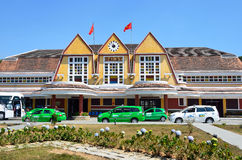Da Lat, Vietnam, January, 20, 2015. Nobody, cars near the building of the railway station in Da lat, Vietnam Stock Photo